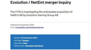 CMA Investigates Evolution's NetEnt Acquisition